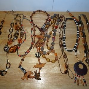 Lot of 9 Exotic Boho~Tribal Wood~Beaded Necklaces